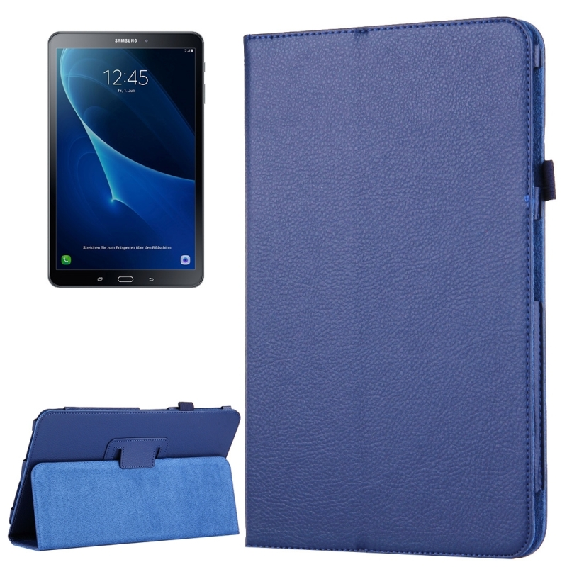 For Galaxy Tab A 10.1 / T580 Litchi Texture Magnetic Horizontal Leather Case (dark Blue)